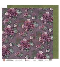 Бумага для скрапбукинга двусторонняя, 30.5х30.5 см, плотность 190 гр/м2, коллекция Die Villa, лист Благоухание роскоши