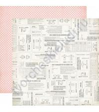 Бумага для скрапбукинга двусторонняя коллекция Sew Lovely Collection, 30.5х30.5 см, 180 гр/м, лист Pretty Pattern