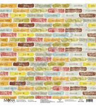Бумага для скрапбукинга односторонняя Ретро кафе, 30.5х30.5 см, 190 гр/м, лист Таблички