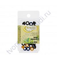 Набор люверсов 20 шт, 8х4.5х4.5 см, цвет черный, металлик, темн. синий, яр. желтый