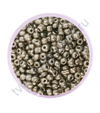 Бисер круглый металлик, диаметр 2 мм, 20 гр, цвет 0576-черный никель