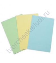 Набор заготовок для открыток текстурированных формат 10х15 см, 3 штуки, 230 гр/м2, цвет Желтый, Голубой, Салатовый