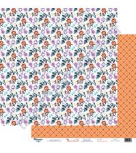 Бумага для скрапбукинга двусторонняя 30.5х30.5 см, 190 гр/м2, коллекция Жили-были, лист Цветок-огонек