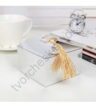 Коробка картонная с кисточкой, 9х9х5.5 см, цвет фольгированное серебро