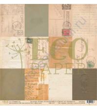 Бумага для скрапбукинга односторонняя 30.5х30.5 см, 250 гр/м, коллекция Старые письма, лист Карточки