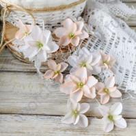 Цветы ручной работы из ткани, 12 шт, цвет персиковый микс
