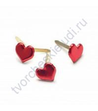 Набор брадсов Red Medium Heart, 8х8 мм, 50 шт