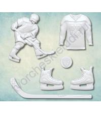 Форма силиконовая (молд) для полимерной глины Набор хоккей, 6 элементов