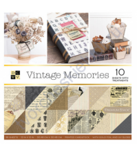 Набор двусторонней бумаги с фольгированием Vintage memories, 30.5х30.5 см, 36 листов (ЦЕНА УКАЗАНА ЗА 1/2 ЧАСТЬ НАБОРА - 18 листов)