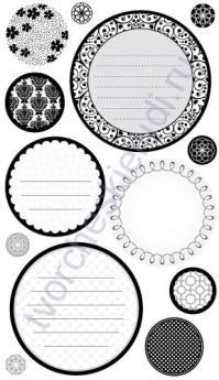 Набор стикеров Circle Journaling Black and White, 13 элементов