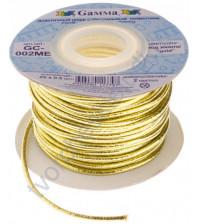 Шнур эластичный метализированный (резинка) 2 мм, цвет золото