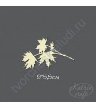 Чипборд Ветка кленовая маленькая, 9х5,5см