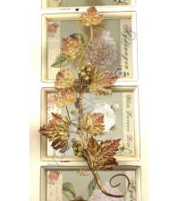 Декоративная Виноградная ветка, 18.5 см, цвет коричневый с золотым глиттером