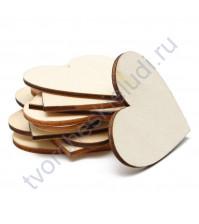 Деревянная заготовка Сердце, 50 мм, 1 штука