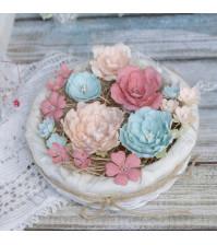 Цветы ручной работы из ткани, 16 шт, цвет пастельный микс