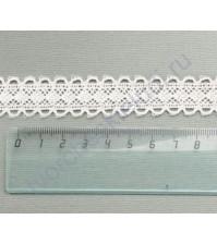 Тесьма вязаная (кружево) хлопок дизайн-18, шир. 24 мм, цвет молочный, 1 метр
