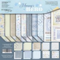 Набор двусторонней бумаги Mommy's Hero, 20х20 см, 190 гр/м, 8 двусторонних листов+2 односторонних листа с карточками