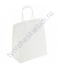 Пакет крафт с круглыми ручками белый, 22х12х25 см