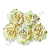 Кудрявые розы 4 см, 5 шт, цвет молочный