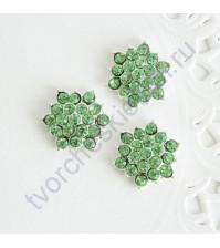 Декоративный элемент со стразами 15 мм, цвет зеленый
