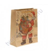 Пакет крафт Дед Мороз с подарками, размер 19х24х8 см