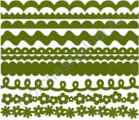Набор бумажных ленточек Just the Edge-4 Dotted Swiss, 10 видов по 2 штуки, цвет зеленый