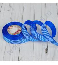 Лента репсовая Полоски, ширина 25 мм, цвет синий