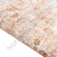 Бумага упаковочная глянцевая Снежные следы, 65 гр/м2, 70х100 см