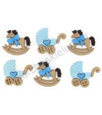 Набор декоративных пуговиц Horse and Buggy-Boy, 6 штук