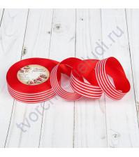 Лента репсовая Полоски, ширина 25 мм, цвет красный