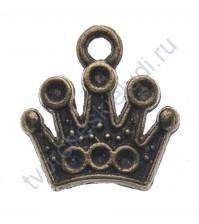 Подвеска металлическая Корона, 12х12 мм, цвет бронза