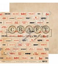 Бумага для скрапбукинга двусторонняя коллекция I've got your six, 30.5х30.5 см, 190 гр/м, лист Счастливый билет