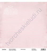 Бумага для скрапбукинга односторонняя, коллекция Базовая розовая, 30х30 см, 250 гр/м2, лист Полоски