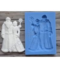 Форма силиконовая (молд) для полимерной глины, Дед Мороз со Снегурочкой большой