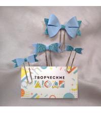 Набор декоративных Бантиков-1 на скрепках, 4 шт, цвет голубой с глиттером