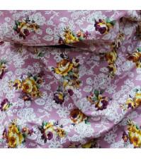 Ткань для рукоделия Розы на сиреневом, 50х50см, 100% хлопок