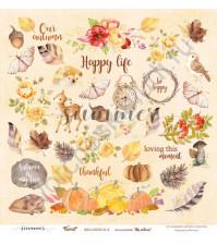Бумага для скрапбукинга односторонняя 30.5х30.5 см, 190 гр/м, коллекция My autumn, лист Forest