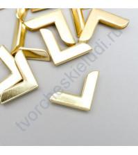 Уголок металлический для альбомов и блокнотов 19х19х3 мм, цвет золото, Цена указана за 1 штуку
