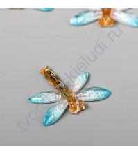 Подвеска декоративная Стрекоза с голубыми крыльями 27х32 мм, акрил
