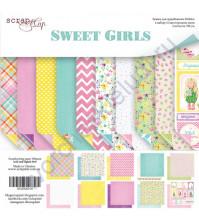 Набор двусторонней бумаги Sweet Girls, 20х20 см, 190 гр/м, 10 листов