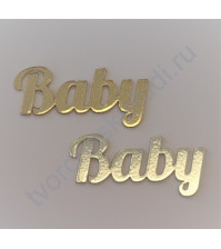 Декоративная надпись Baby, 21х44 мм, цвет в ассортименте