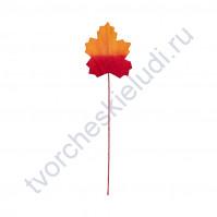 Листья кленовые на проволоке 3.4х2.7 см, 12 шт, цвет красно-оранжевый