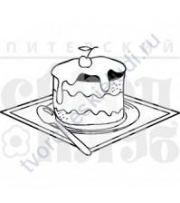 ФП штамп (печать) Пирожное с вишенкой, 4.8х2.8 см