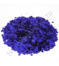 Мини пайетки круглые с эффектом металлик 3 мм, 10 гр, цвет синий