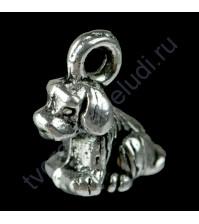 Подвеска металлическая Маленький щенок, 12х8 мм, цвет серебро