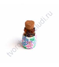 Стеклянная бутылочка с пробкой, 19х13 мм, цвет розово-сиреневые цветы на белом
