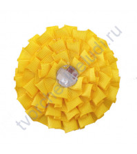 Цветок из ткани с хрустальной сердцевинкой, диаметр 8 см, цвет желтый