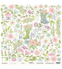 Бумага для скрапбукинга односторонняя 30.5х30.5 см, 190 гр/м, коллекция Purr Purr, лист Цветы