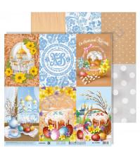 Бумага для скрапбукинга двусторонняя 30.5х30.5 см, 180 гр/м2, лист Пасхальные карточки