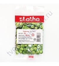 Пайетки круглые с эффектом голографик 6 мм, 10 гр, цвет салатовый
